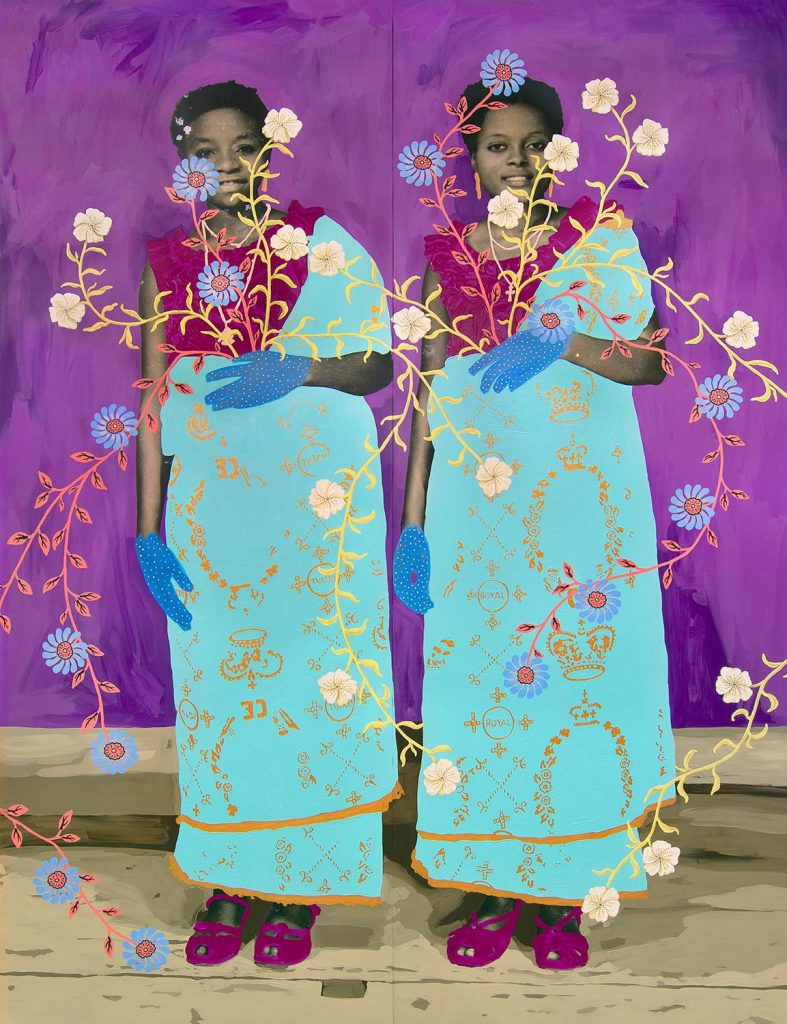 Untitled (Two Women with Green and Gold Robes and Floral Pattern), 2020, by Daisy Patton