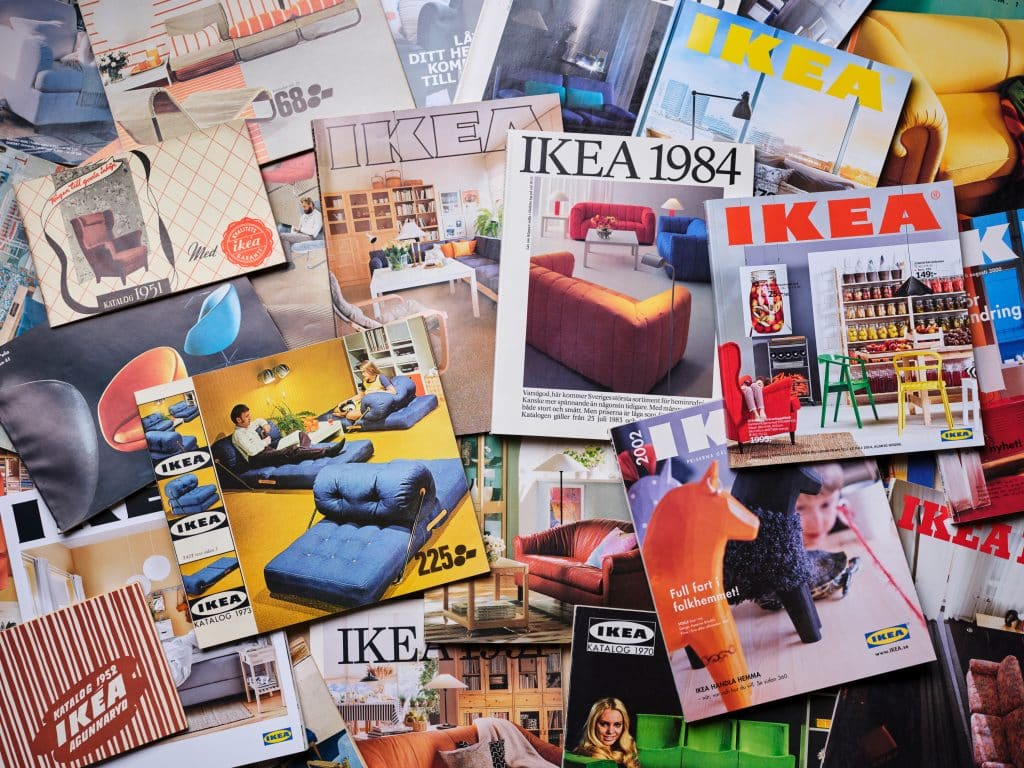 Ikea catalogues throughout the decades.