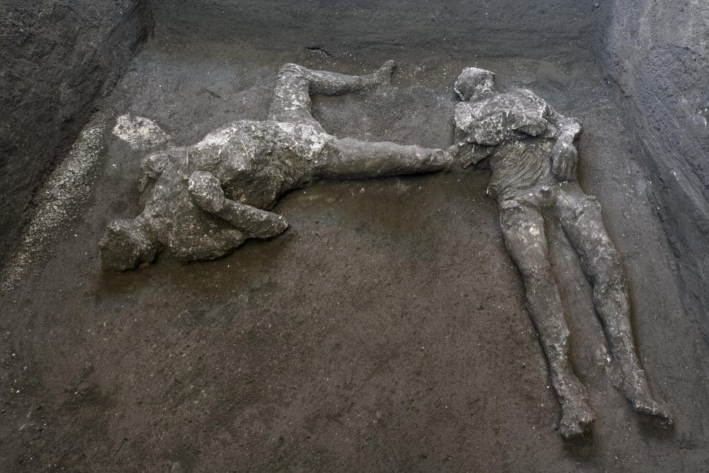 These well-preserved remains of two men were recently unearthed at Pompeii.