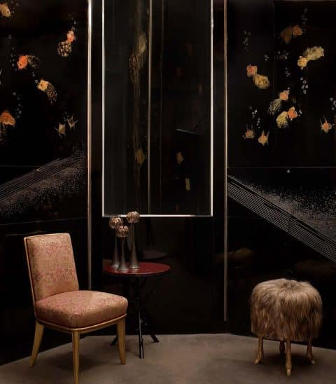 Lacquered panels by Jean Dunand, decorated with a Japanese goldfish motif