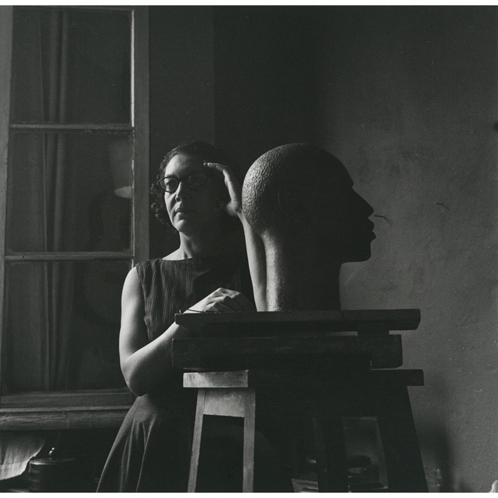 Elizabeth Catlett in a ca. 1949 portrait by Mariana Yampolsky