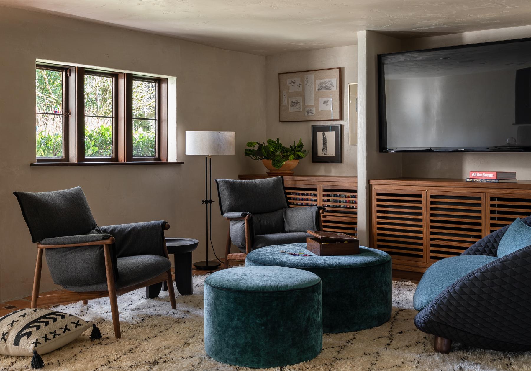 Seattle Interior Designer Charlie Hellstern Madison Park house basement family room