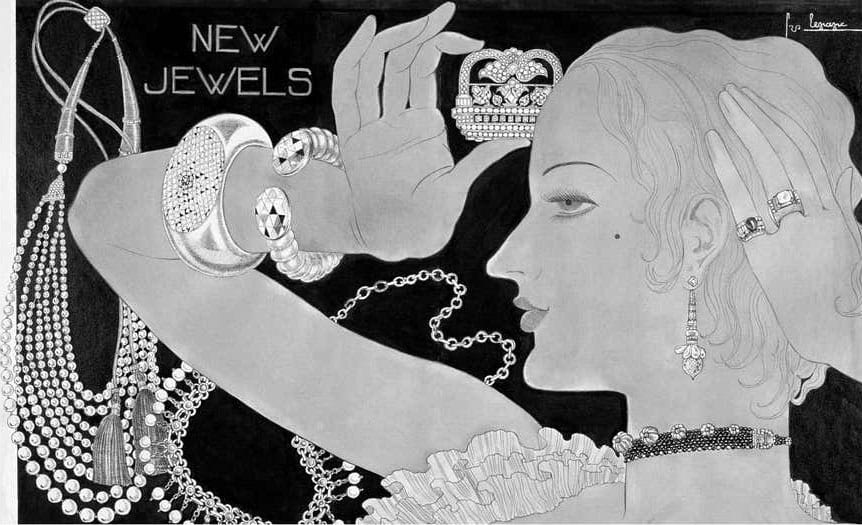 A 1933 illustration for Vogue showing a René Boivin diamond-pavé cuff offered by Siegelson