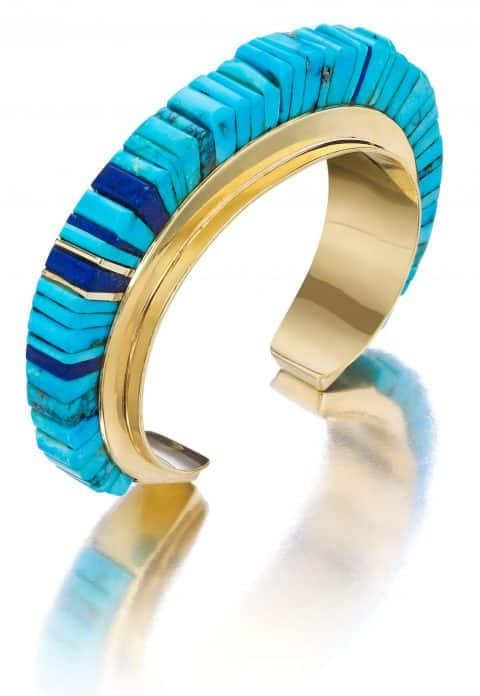 A 1970s turquoise, lapis lazuli and gold cuff by Hopi jeweler Charles Loloma.