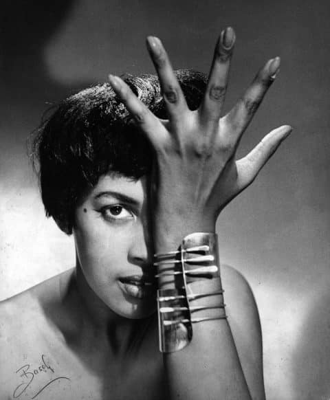 A model wears the Modern cuff by Art Smith, later acquired by Siegelson and donate to the Cleveland Museum of Art