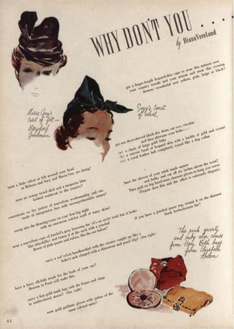 """A page from Diana Vreeland's iconic """"Why Don't You . . . ."""" column in Harper's Bazaar"""
