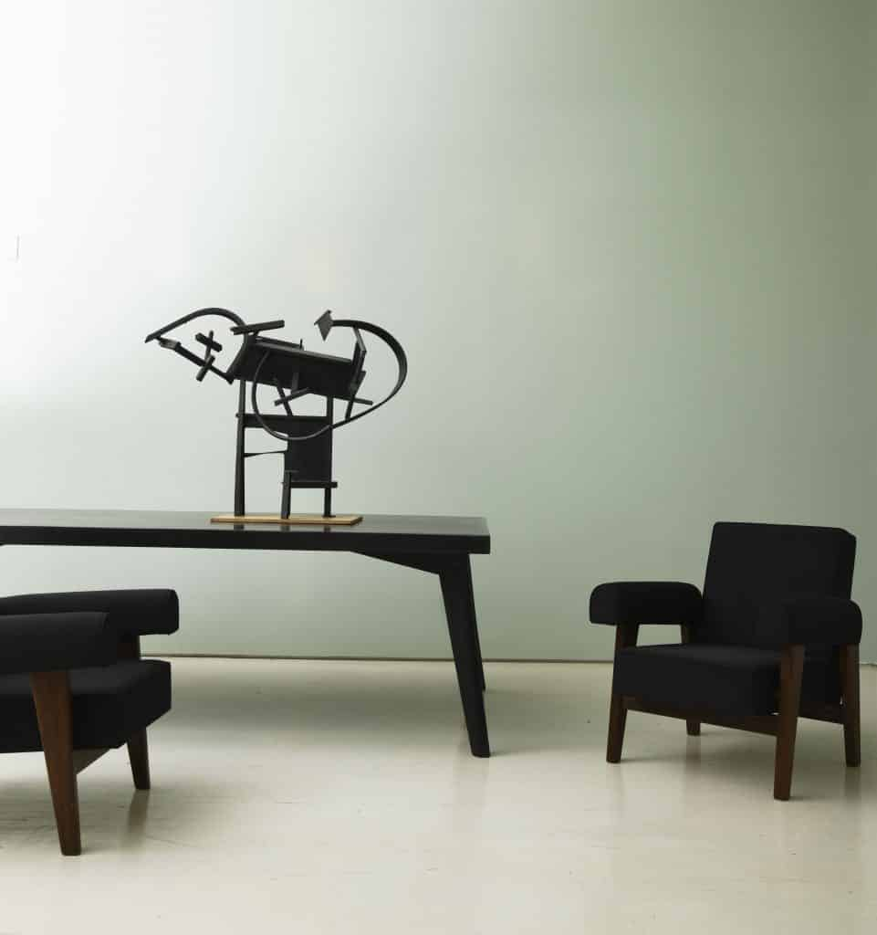 Marama, a 1960 scuplture by Robert Jacobsen, with Pierre Jeanneret furniture at Magen H Gallery