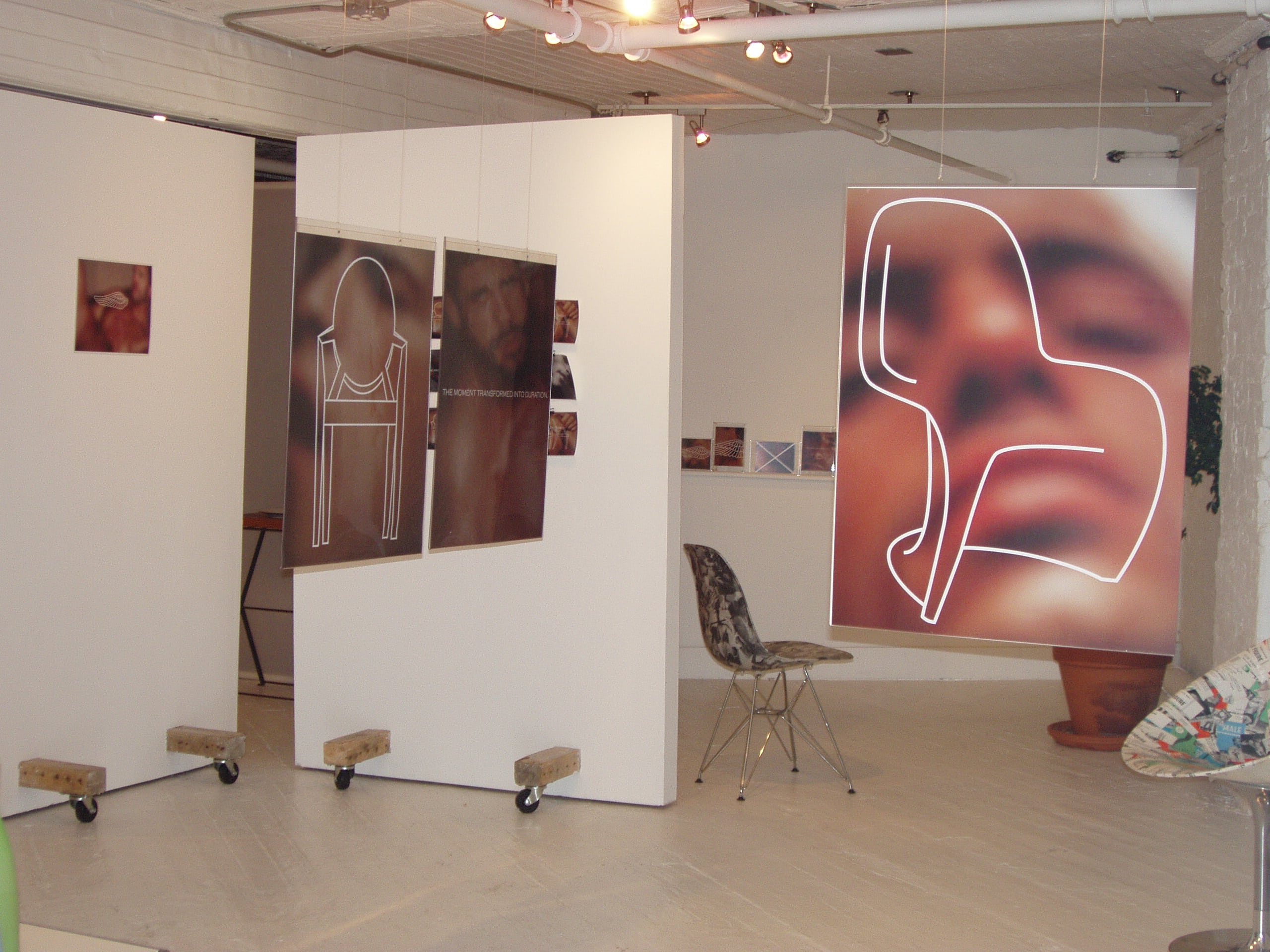 """An early exhibition at Ivy Brown Gallery, entitled """"ObessionCompulsionSexDesign,"""" by artist and designer John Findysz"""