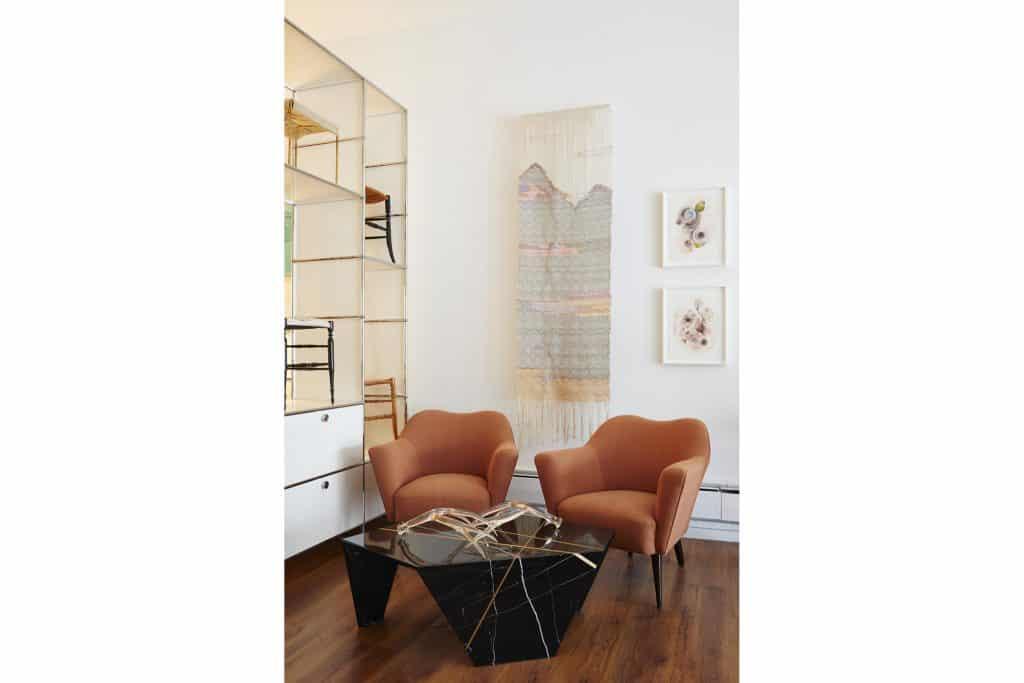 The Gilded Owl Hudson New York shop story gallery dealer Margot Becker tapestry Julie Evans artworks lounge chairs Planar coffee table James Devlin