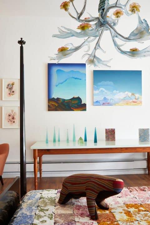 The Gilded Owl Hudson New York shop story gallery dealer Elliott Green paintings Tyler Hays table BDDW Virgil Marti chandelier