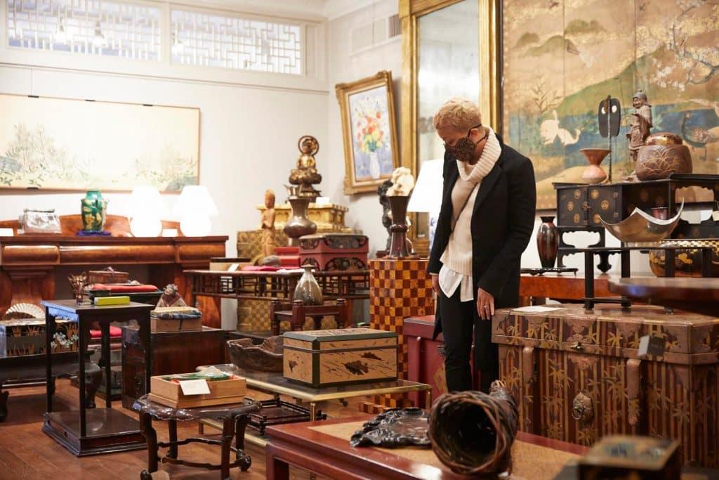 Interior designer Paris Grant at Naga Antiques Asia Asian Japan Japanese Hudson New York store shop gallery antiques dealer
