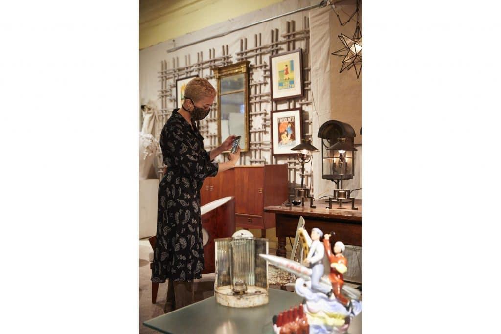 Interior Designer Paris Grant at Benjamin Wilson Antiques Hudson New York store shop gallery