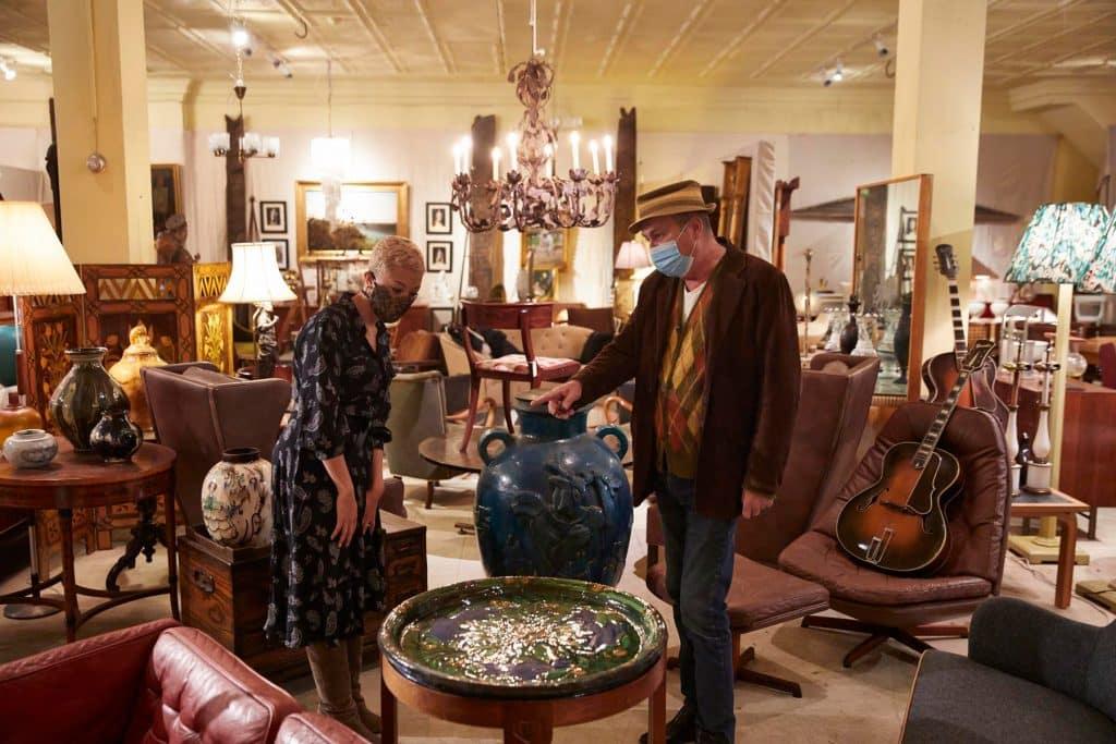 Interior Designer Paris Grant and owner Kim Arenskjold at Arenskjold Antiques Hudson New York shop gallery store antiques dealer