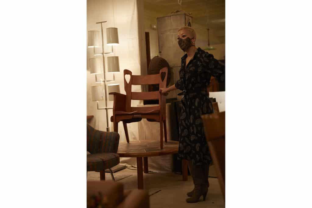 Interior designer Paris Grant at Modern on the Hudson New York antiques gallery store dealer shop