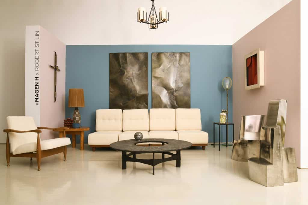 """White Guillerme et Chambron seating and a Pia Manu coffee table in a room by designer Robert Stilin at Magen H Gallery's winter 2020 exhibition, """"The Decorator's Eye"""""""