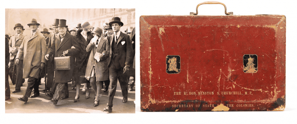 "A photo of Winston Churchill carrying a dispatch box through the streets of London in 1929 and a picture of the dispatch box made for Churchill by John Peck & Son during his time as Secretary of State for the Colonies, both from the exhibition ""Bags: Inside Out,"" at London's Victoria and Albert Museum"