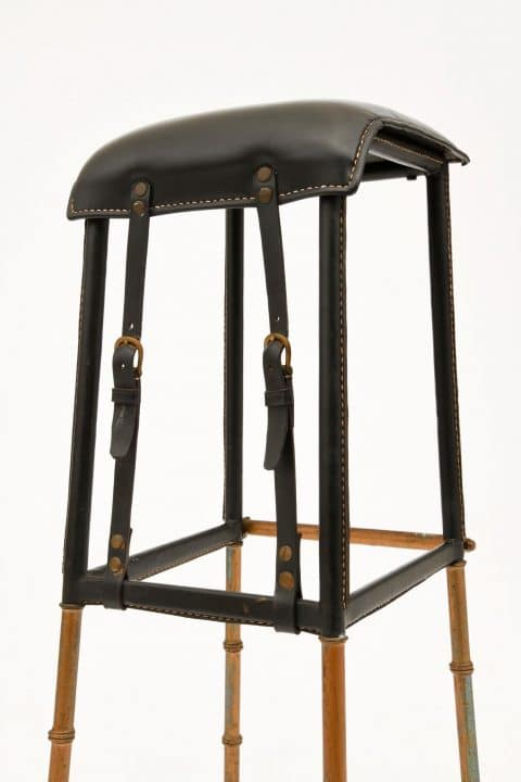 A circa-1950 barstool by Jacques Adnet offered by Magen H Gallery