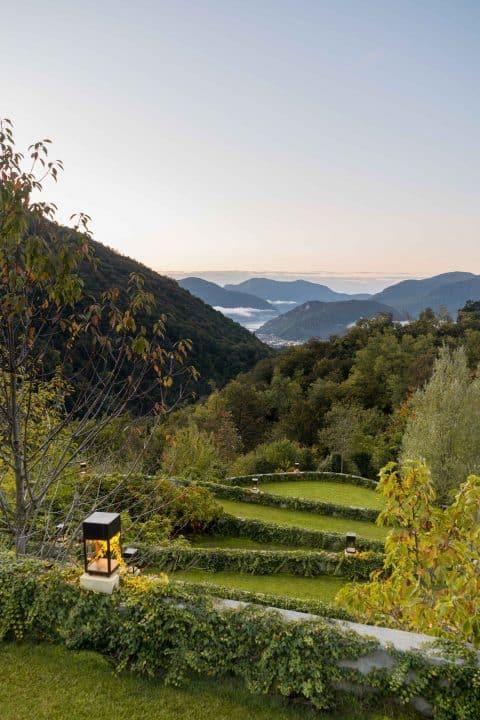 The lower garden of a Swiss property designed by Fernando Caruncho