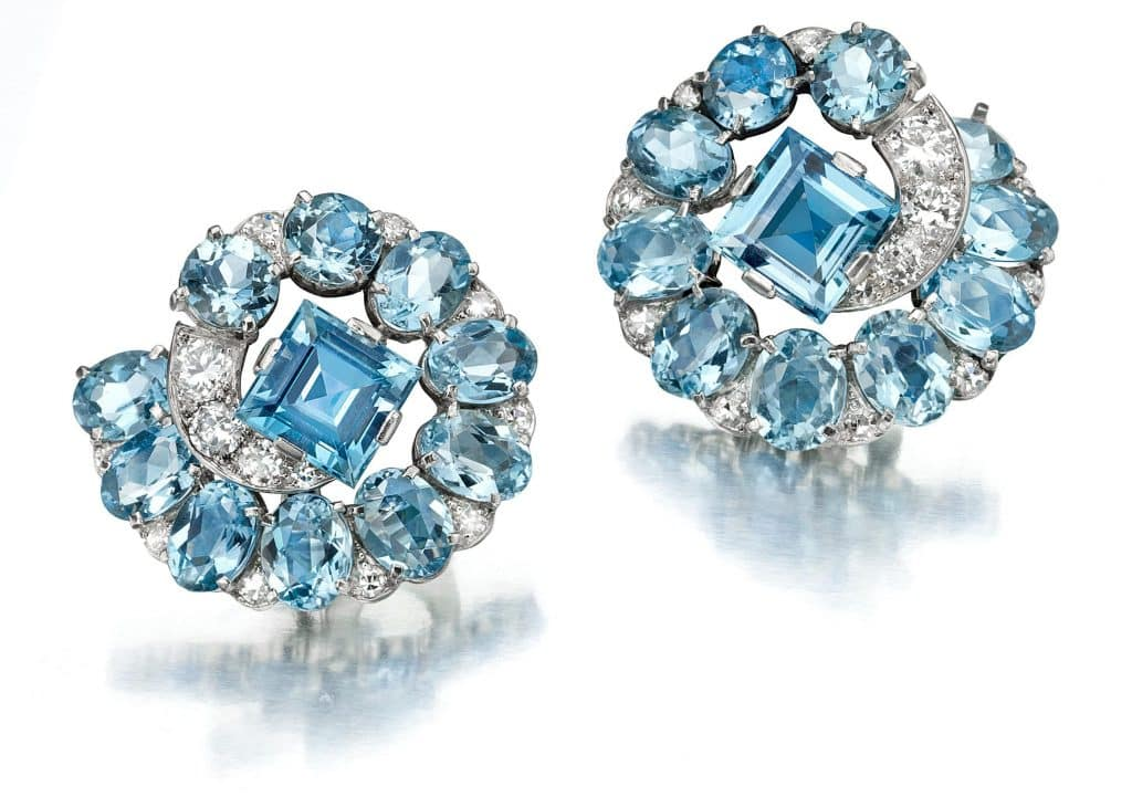 1935 Art Deco aquamarine and diamond ear clips by Cartier, offered by Siegelson