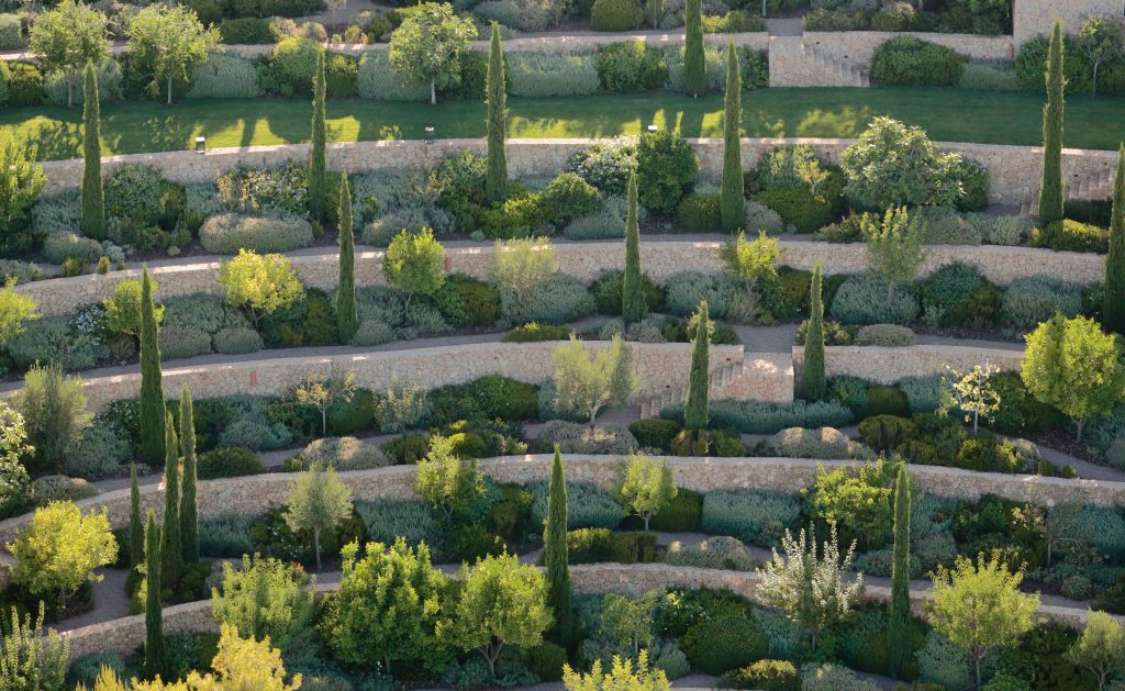 A terraced garden designed by Fernando Caruncho in Porto Heli, Greece