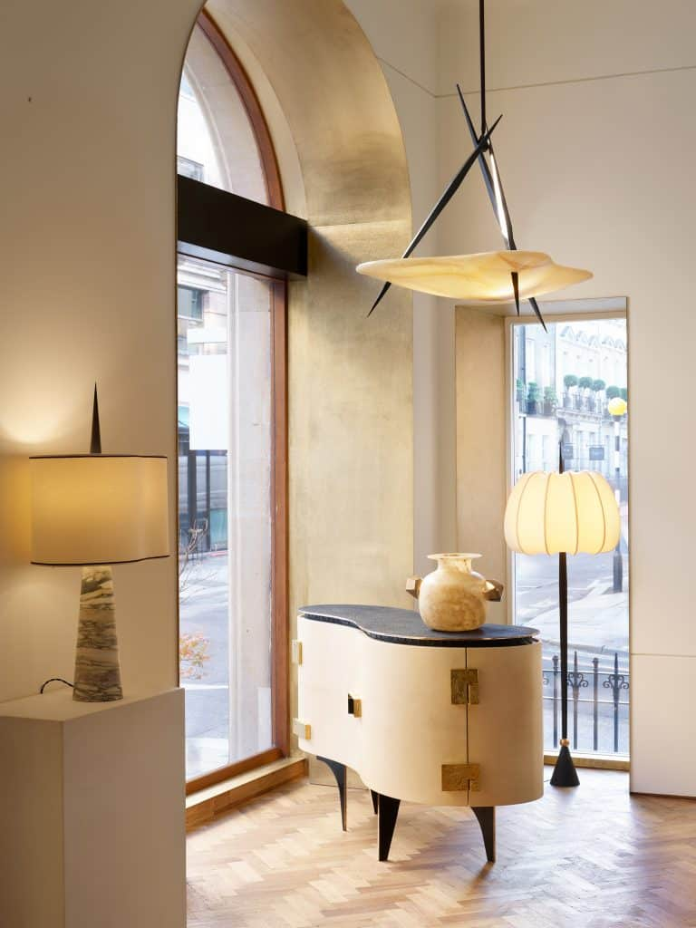 Achille Salvagni's Silk cabinet in the window of his London showroom