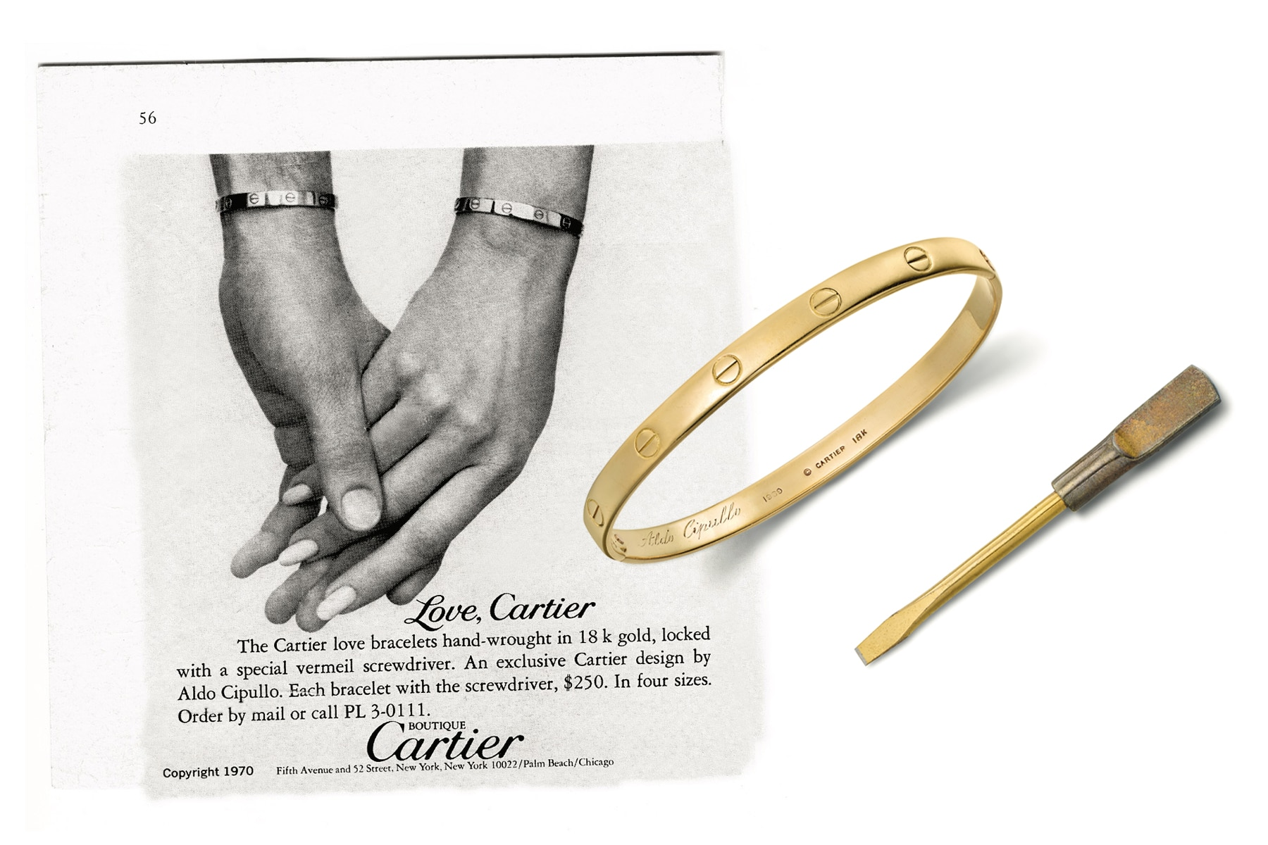 Left: A 1970 ad for the Cartier Love bracelet highlights its unisex appeal. Right: One of the first examples made belonged to the company's president at the time, Michael Thomas.