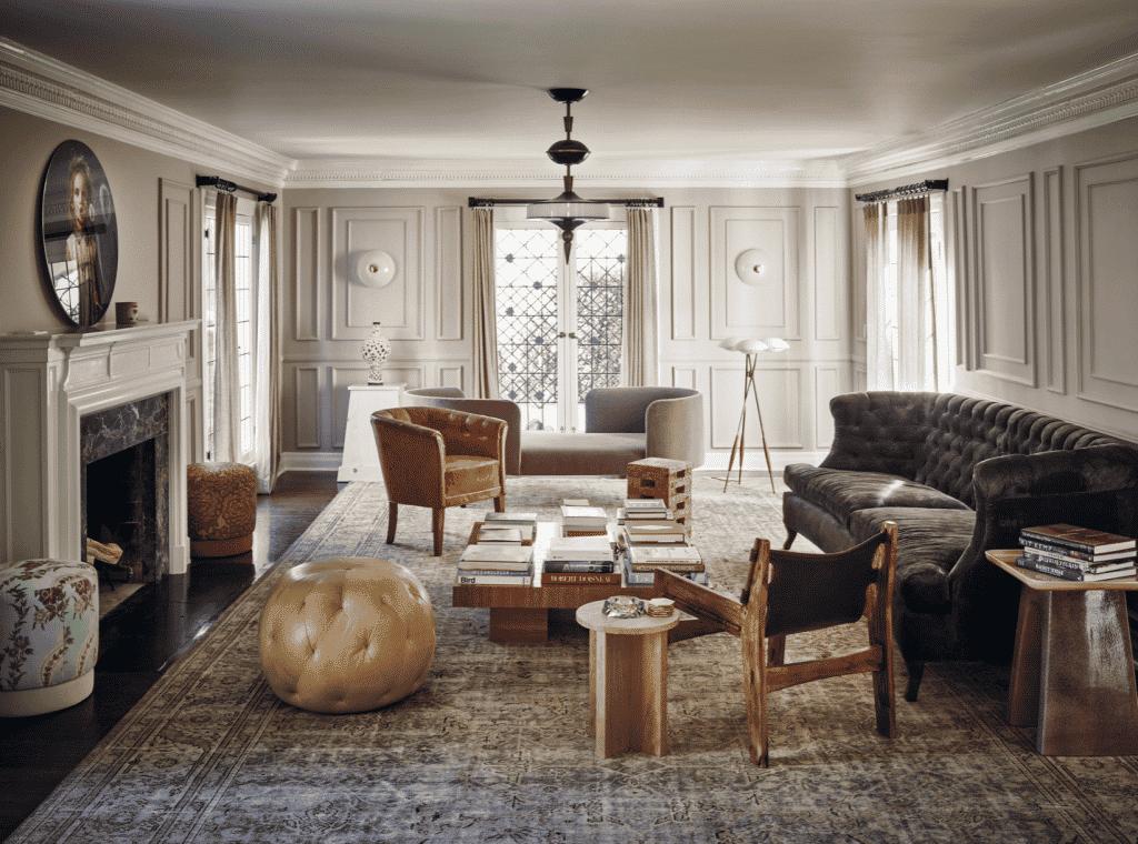 Interior designer Brigette Romanek Romanek Design Studio Los Angeles traditional five-bedroom house living room