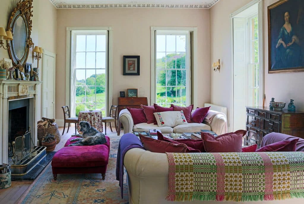Rizzoli book At Home in the English Countryside: Designers and Their Dogs Susanna Salk Stacy Bewkes Wiltshire Sophie Conran lurcher Mouse Sir Terence Conran living room