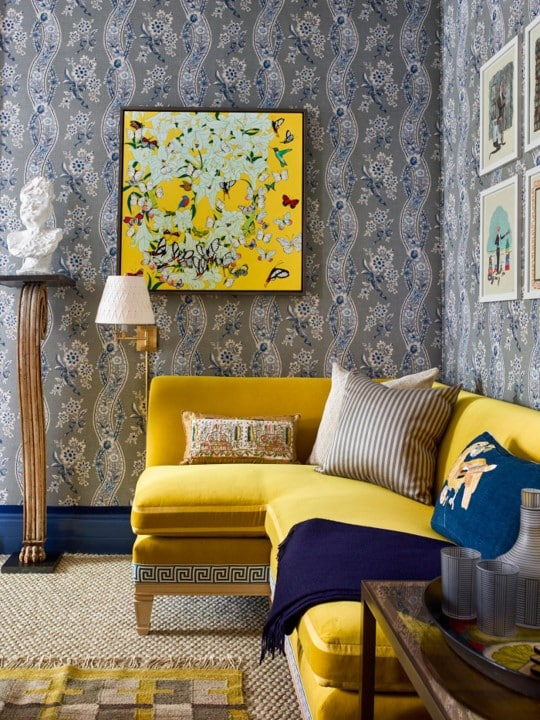 A room with an archival wallpaper print by Schumacher
