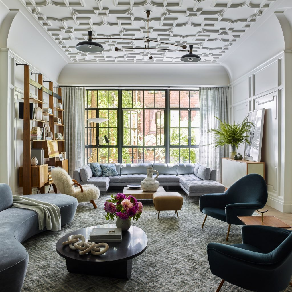 Interior designer Brad Ford West Village townhouse renovation living room