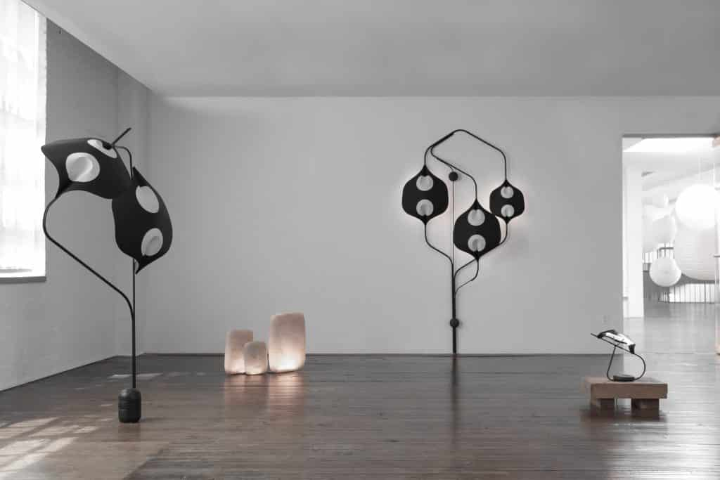 YMER&MALTA's Galet lights and edaLight floor lamp, sconce and table lamp at the Noguchi Museum in New York