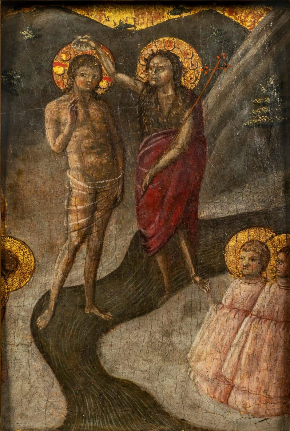 Baptism of Christ, ca. 1450, by Borghese di Piero, offered by Robert Simon Fine Art