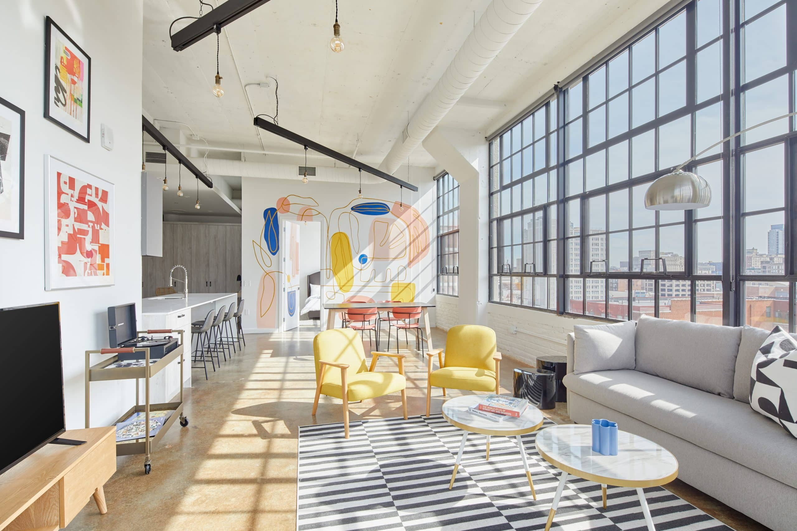 A mural by Dora Cuenca in the penthouse at the Heid Building in Philadelphia