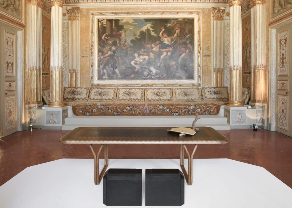 YMER&MALTA's hiddenSkin stools, inMySkin dining table and doveTail centerpiece at Château Borély, the home of the Musée des Arts Décoratifs, de la Faïence et de la Mode in Marseille, France