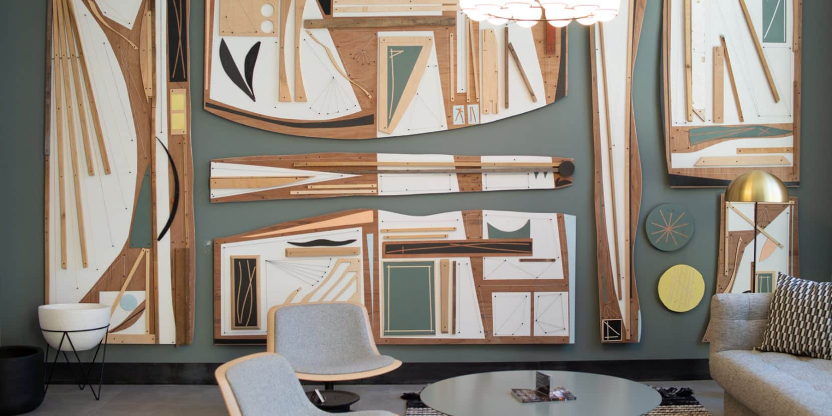 A sculptural mural by Hyland Mather graces the lobby of the Heid, a residential building in the city's Callowhill area