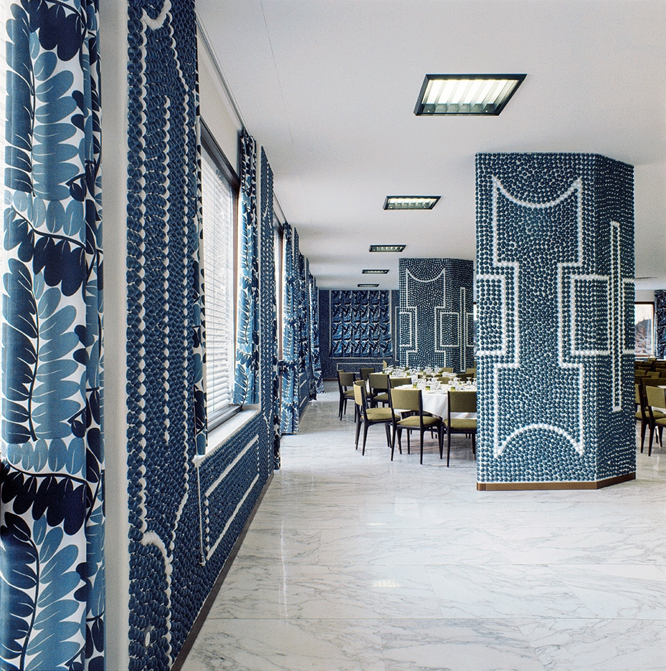 The banquet room of the Hotel Parco dei Principi in Rome, as seen in the book Gio Ponti, offered by Taschen