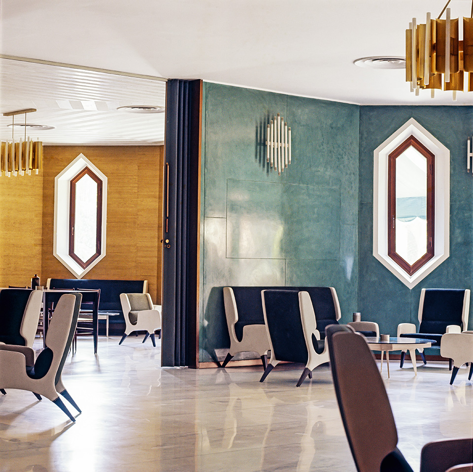 The lobby of the Hotel Parco dei Principi in Rome, as seen in the book Gio Ponti, offered by Taschen