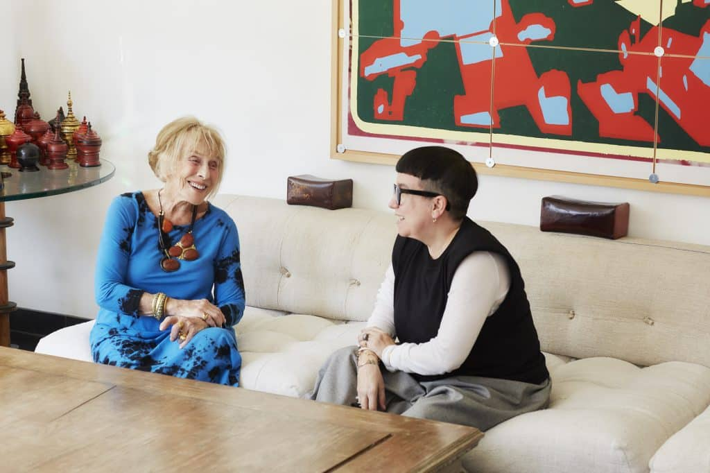 Mimi Lipton (left) with Valery Demure, owner of the London jewelry gallery Objet d'Emotion