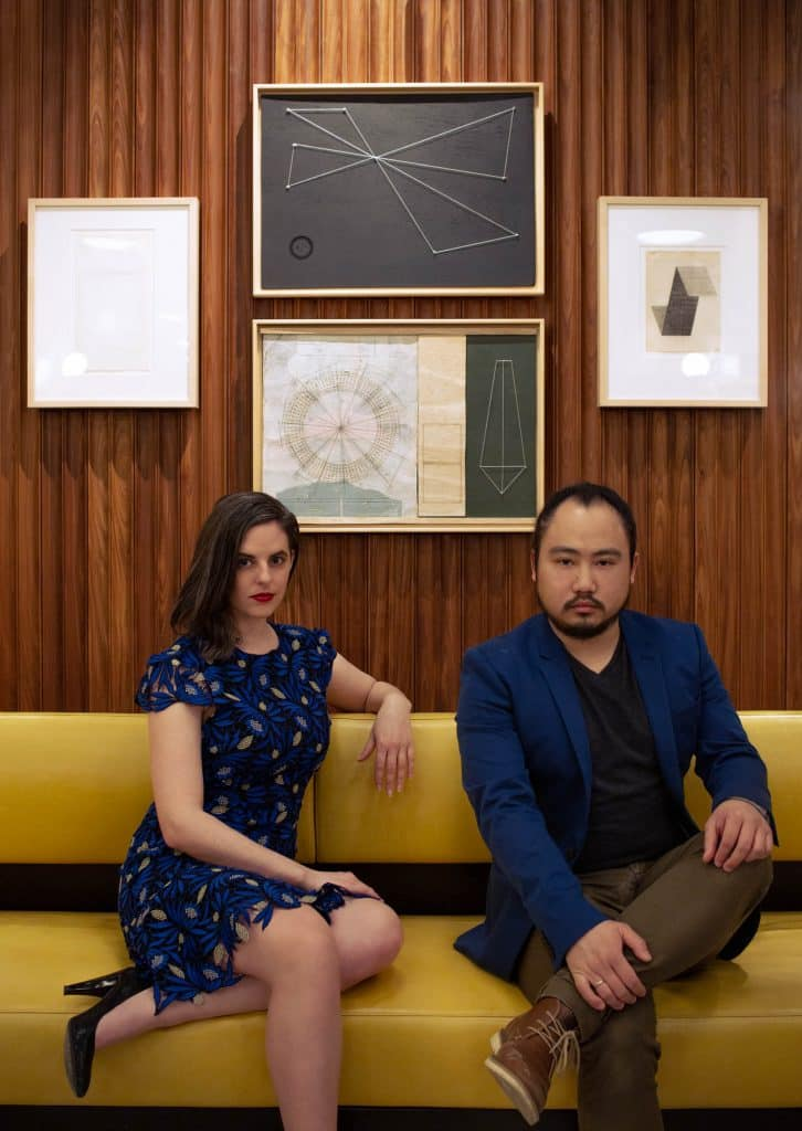 Paradigm Gallery founders Sara McCorriston and Jason Chen at Dolce restaurant at the W hotel in Philadelphia