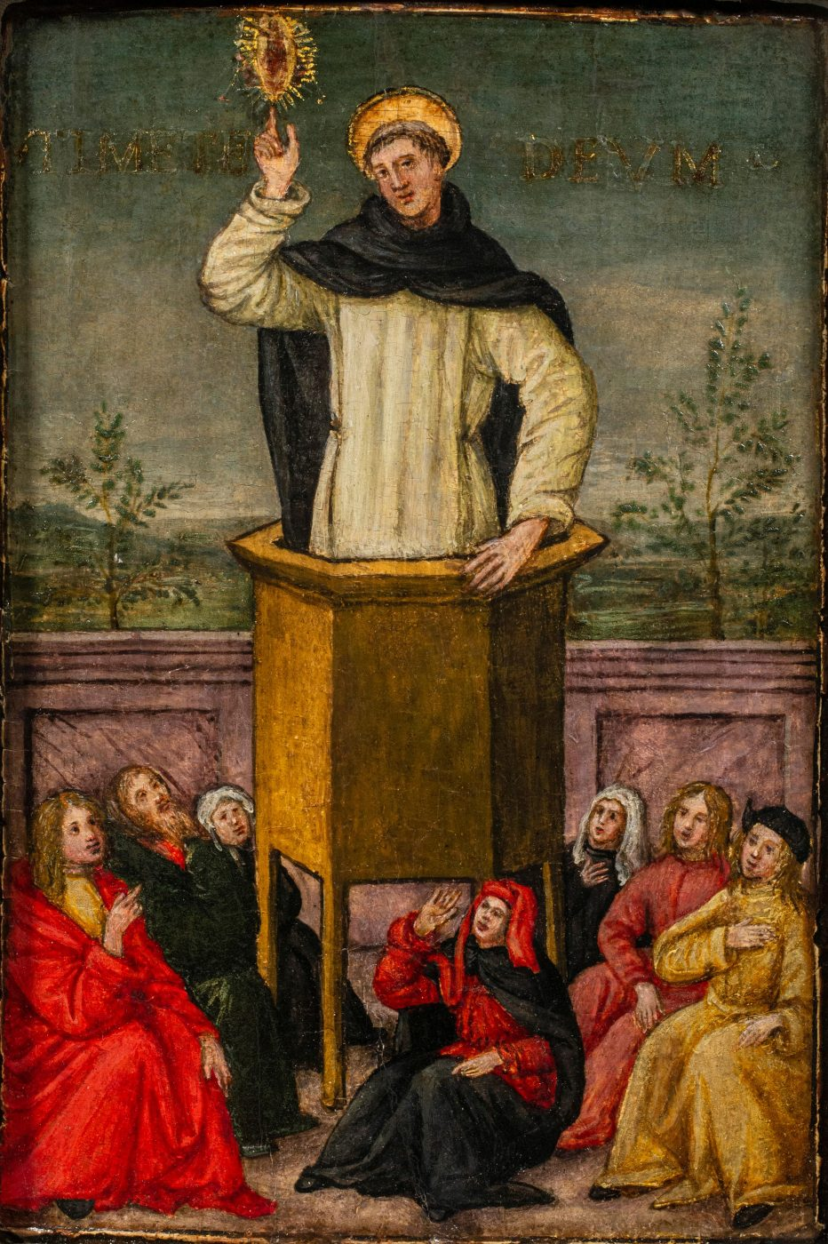 Saint Vincent Ferrer Preaching to the People of Salamanca, ca. 1500, by the Master of Montespertoli, offered by Robert Simon Fine Art
