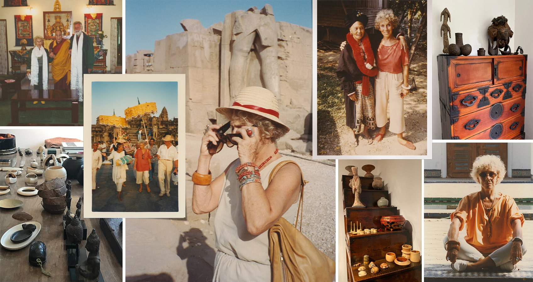 A collage of photographs of Mimi Lipton traveling in Africa and Asia, as well as pictures of the objects she collected on her trips