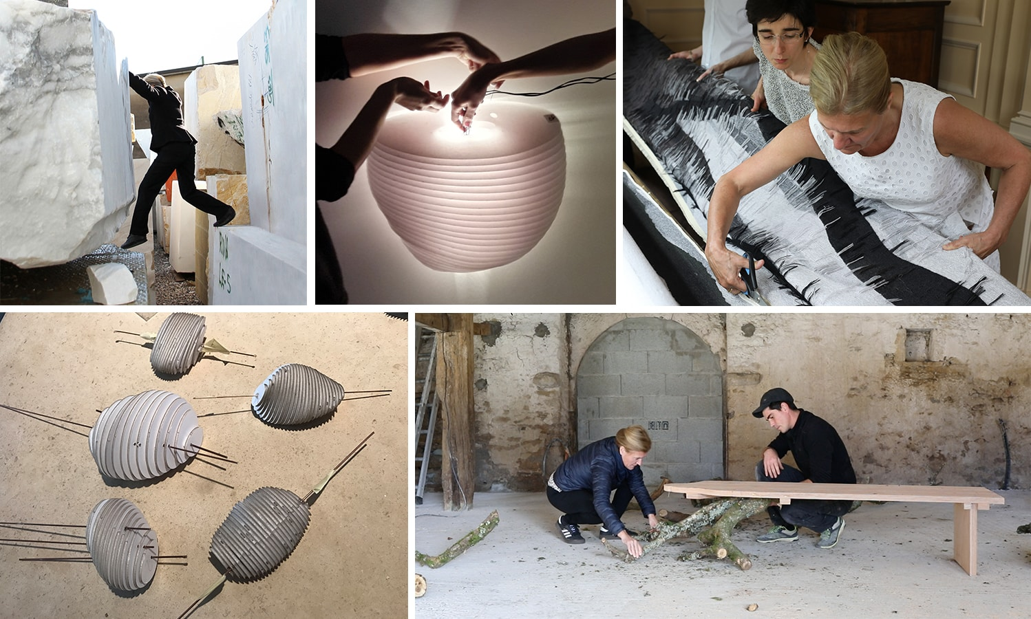 A collage of images of YMER&MALTA founder Valérie Maltaverne working with marble, lighting, tapestry and tree branches