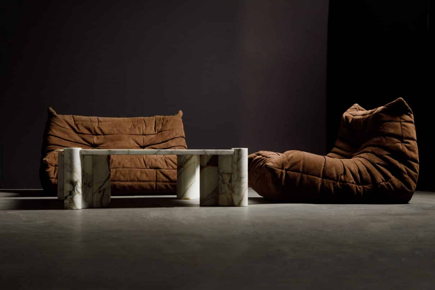 Michel Ducaroy's Togo couches and the Jumbo coffee table by Gae Aulenti for Knoll, offered by Automaton