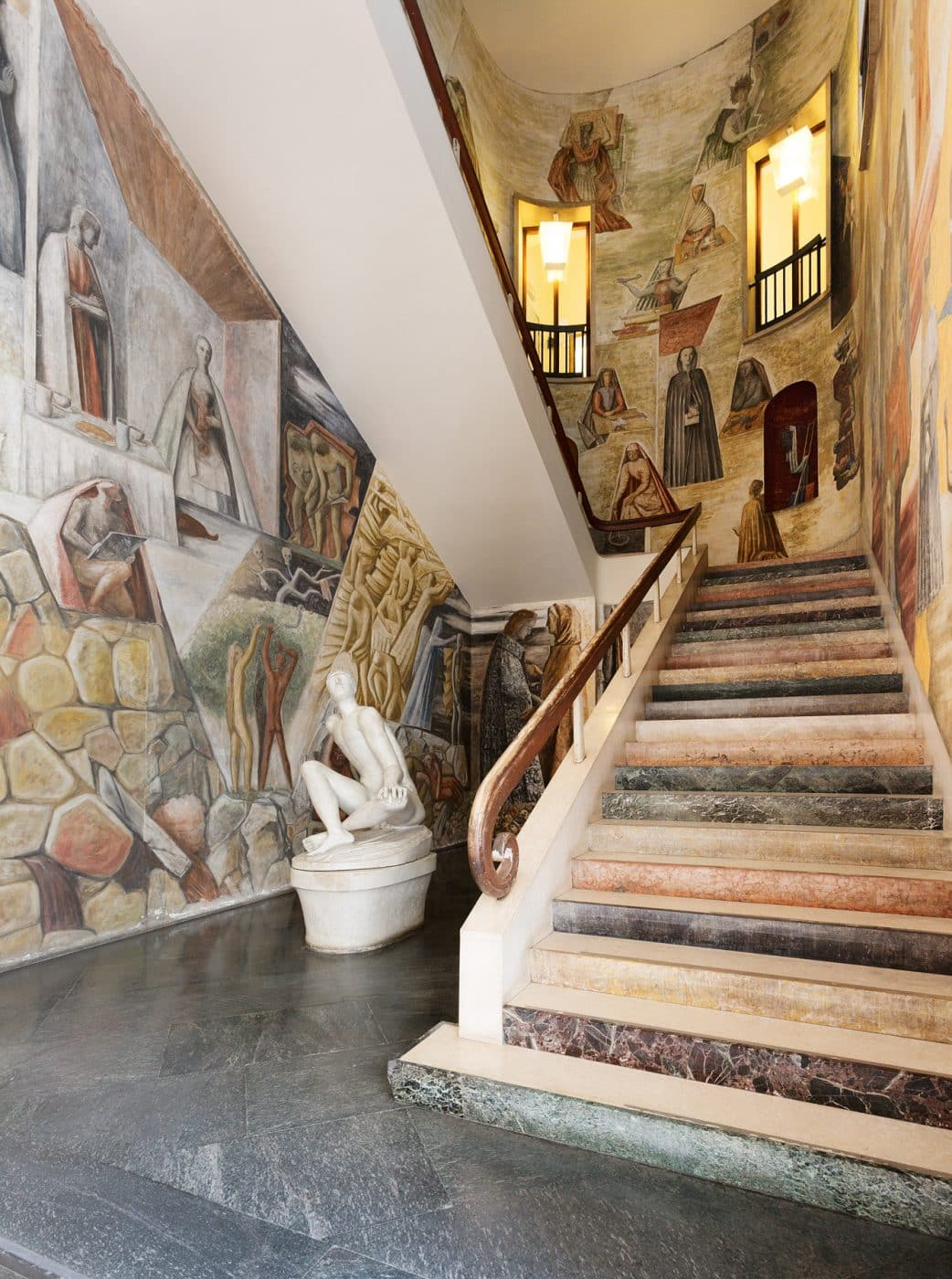 An image of the main staircase at the Palazzo del Bo, from the book Gio Ponti, offered by Taschen