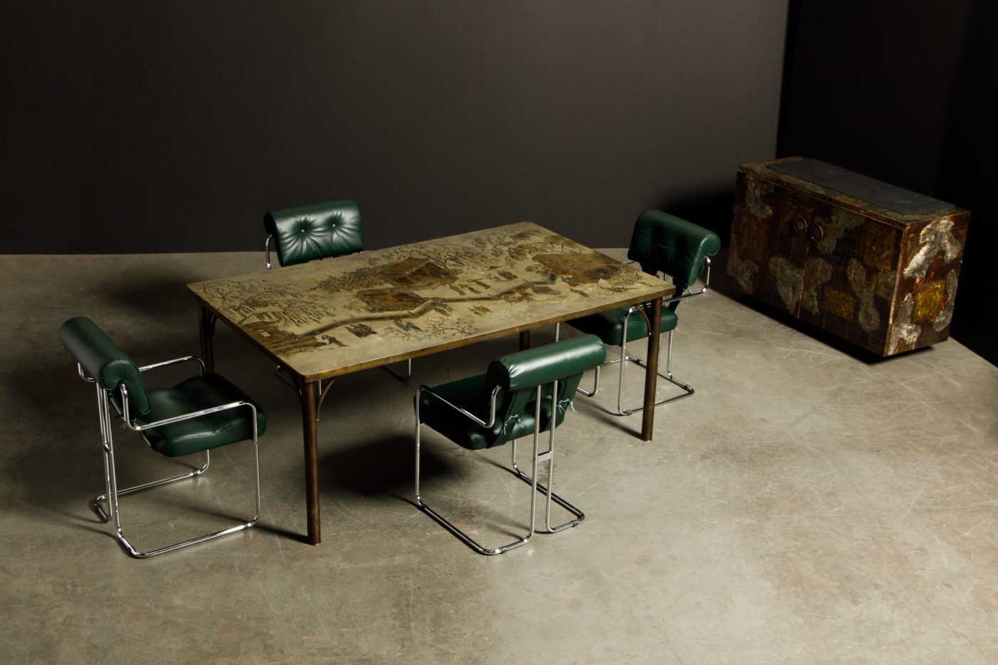 The Kang Tao bronze and pewter dining table by Philip and Kelvin LaVerne, offered by Automaton