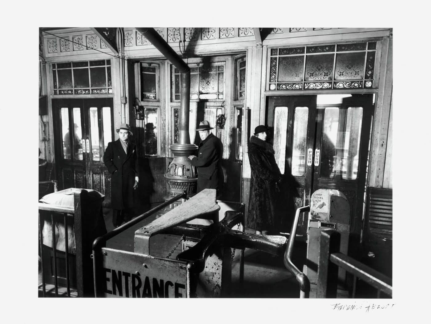 """""""El"""" Station Interior, Sixth and Ninth Avenue Lines, Downtown Side, 1936, by Berenice Abbott"""