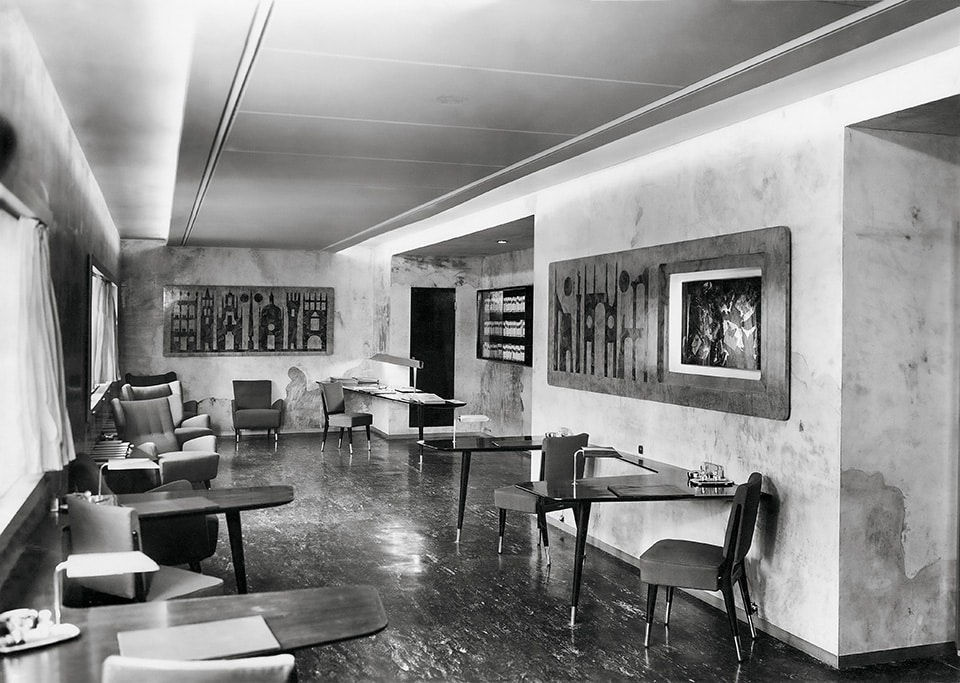 The first-class reading room of the ship the Conte Grande, as seen in the book Gio Ponti, offered by Taschen