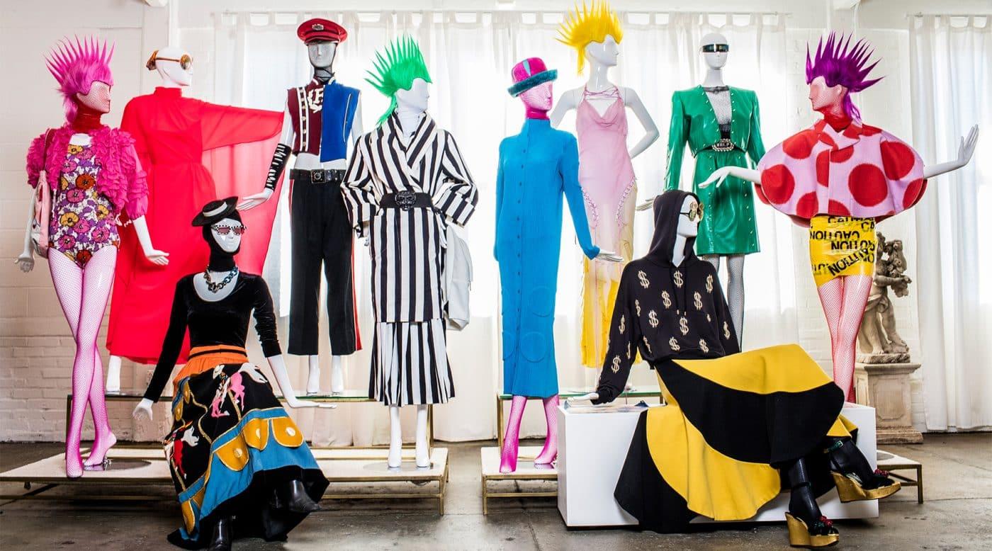 Mannequins in designer vintage fashions at Evolution