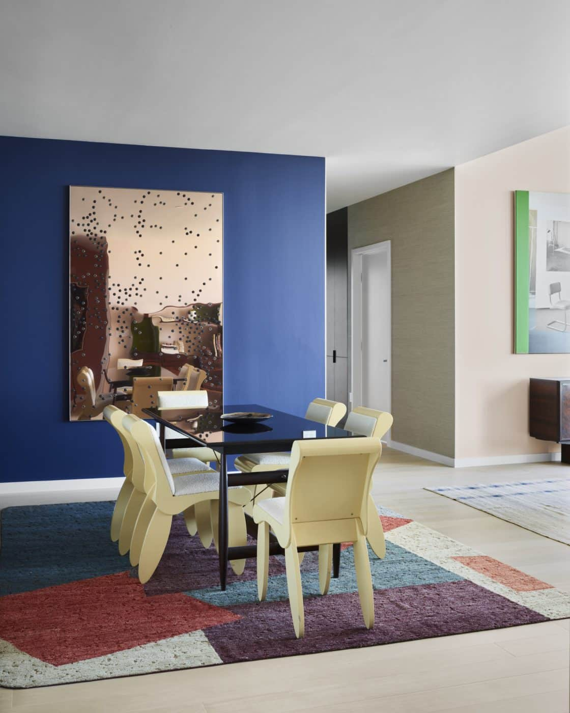 The dining room of Gabriel & Guillaume's staged apartment at Fifteen Fifty in San Francisco
