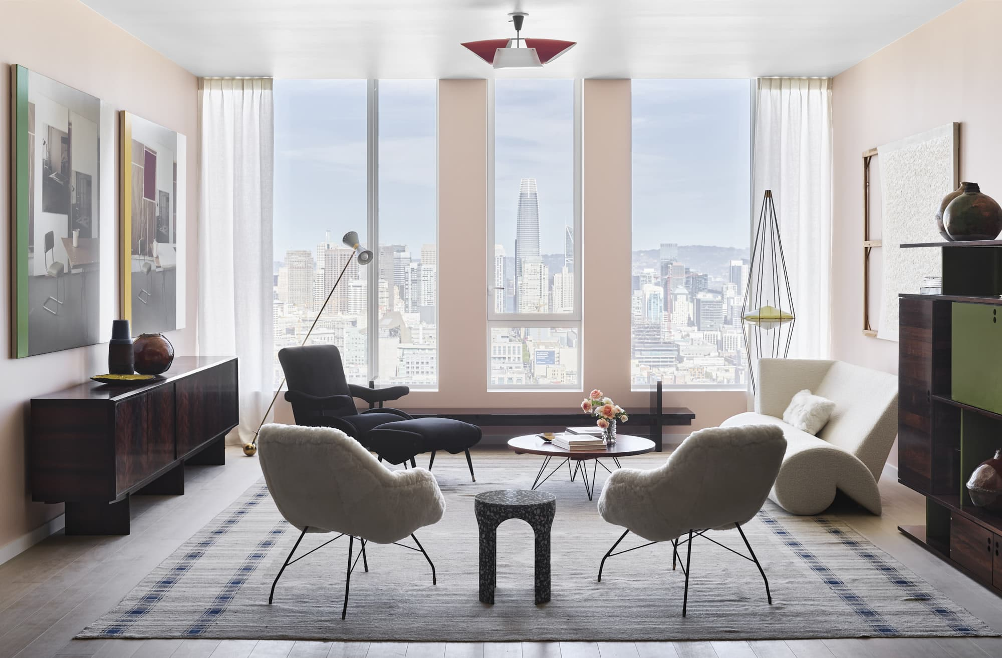 The living room of Gabriel & Guillaume's staged apartment at Fifteen Fifty in San Francisco